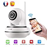 Caméra IP WIFI 1080p PT Vision Nocturne Babyphone sans Fil Détection de Mouvement et Pleur Carte SD Alarme Notifié avec Photo Audio Bidirectionnel Vision à Distance par Phone 3G/4G Notice Français