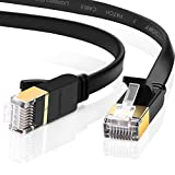 UGREEN CAT 7 Plat Câble Ethernet Réseau RJ45 Haut Débit 10Gbps 600MHz STP 8P8C pour Nintendo Switch, Routeur, Modem, Switch, TV Box, PC, Xbox, PS3, PS4, Consoles de Jeux etc. Noir (1M)
