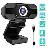 Aiglam Webcam 1080P, Webcam pour Ordinateur de Bureau et Portable USB, Mini-caméra vidéo Call-and-Play,Gaming Stream, Deux Microphones, Petite, Agile, Réglable (Noir)