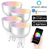 WANGLAI Ampoule Intelligente, 5W Ampoule Connectée WiFi Couleurs RGB Compatible avec Amazon Alexa/Google Home, Ampoule GU10 LED Télécommande (4 Packs)