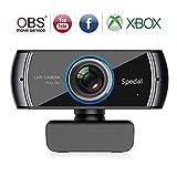Spedal Full HD Webcam 1536p, Live Streaming Caméra avec Microphone USB, Caméra Web pour Skype Facebook OBS Xbox XSplit, Compatible pour Mac OS Windows 10/8/7