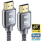 Câble HDMI 4K 0.9m - Snowkids Câble HDMI 2.0 Haute Vitesse par Ethernet en Nylon Tressé Supporte 3D/ Retour Audio, Cordon HDMI pour Lecteur Blu-Ray/Xbox 360/ PS3/ PS4/ TV 4K Ultra HD/Ecran - Gris
