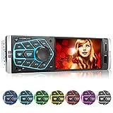 XOMAX XM-V418 Autoradio avec écran 4.1' / 10 cm I Bluetooth | USB, SD, AUX | RDS | Connexions pour caméra de recul et télécommande au Volant I 7 Couleurs d'éclairage | 1 DIN