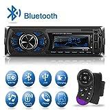 1 Din Autoradio Bluetooth, Dicool Radio Stéréo Voiture, 2 Ports USB Charger Téléphone&USB Clé, Card Slot SD/MMC Max 32G Mémoire, Lecteur FM/MP3/USB/SD/WMA/AUX Télécommande, 7 Couleurs d'Eclairage