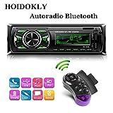 Hoidokly Autoradio Bluetooth Main Libre 1-Din 4×60W Radio de Voiture Stéréo avec 2 Ports USB de Chargeur/FM/MP3/WMA/TF/AUX/ISO/Télécommande/7 Couleurs d'Eclairage