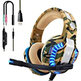 Beexcellent Casque PS4 Gaming, Casque Gamer Professionnel Audio Stéréo avec Micro à Réduction du Bruit 3.5mm Jack Over Ear Comfortable avec Lumière LED pour Xbox One PC Laptop Tablette
