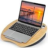 HUANUO Support pour Ordinateur Portable avec Coussin et Plate-Forme en Bambou sur Le Lit et Le Canapé, Bureau de Genou avec Trou de Câble et Bande Antidérapante, pour PC, Tablette jusqu'à 15,6' Nomai